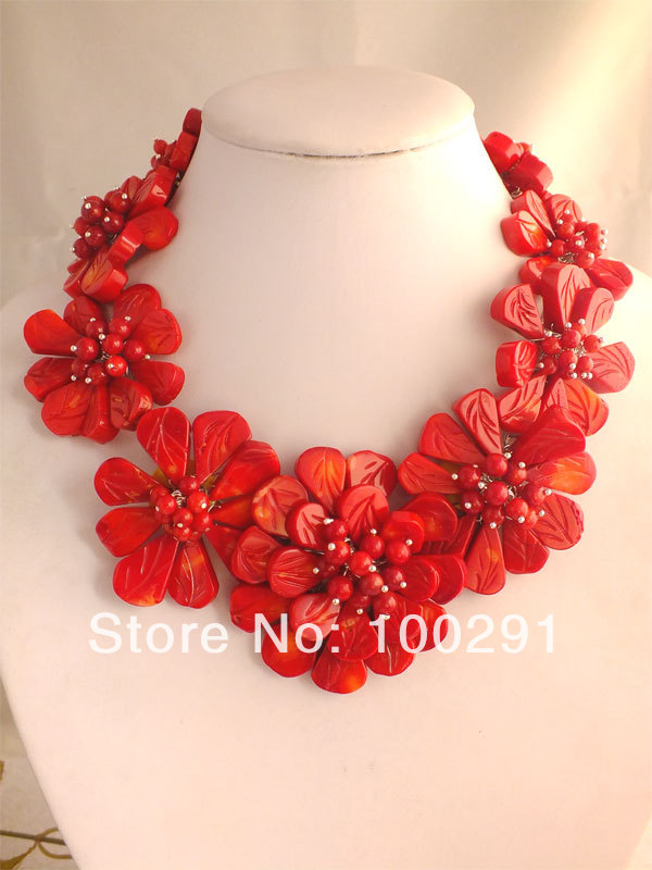 Free ship Fashion African Wedding Red Engraved Coral Flower Necklace necklace MN 611