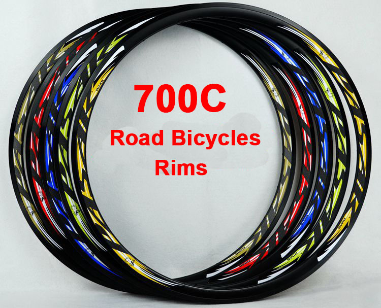 700C Road Bicycles Rims double aluminum alloy S6000 V brake 20/24 holes clincher rims reflective label F/V bicycle parts