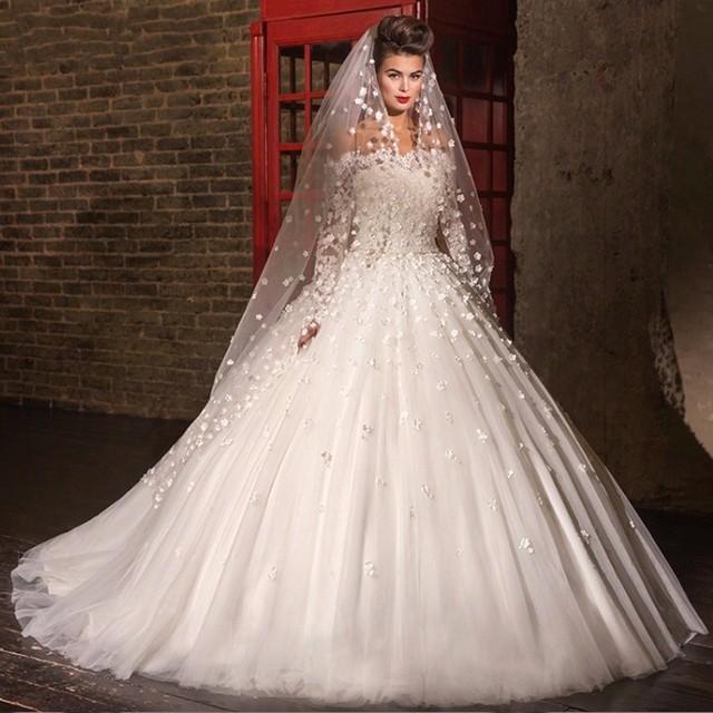 de manga larga de la princesa vestido de encaje de la boda elegante