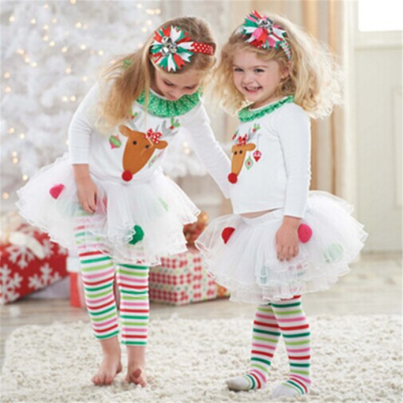 Kid Home Wears Costumes White Christmas Elk Printed Long Sleeve T-Shirt Stripe Pantskirt 2PCS Set Halloween Christmas Set