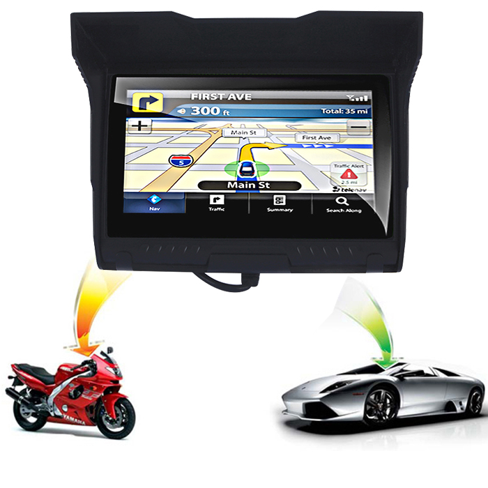 2018 Updated 5 inch motorcycle waterproof GPS Motorbike Bluetooth Navigator car navigation 256M RAM 8GB Flash free map