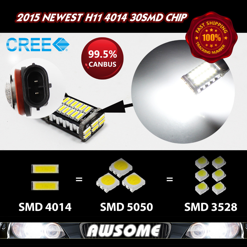 Wholesales Promotion!! Strong Bright White 10x H11 30Led 4014 SMD Canbus Car DRL Daytime Running Fog Light Bulbs 1000LM