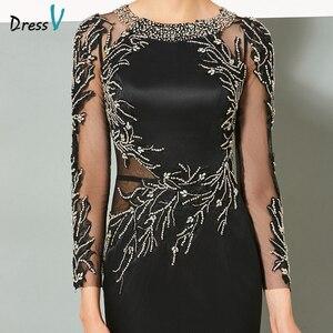 Image 4 - Dressv black long evening dress elegant scoop neck sweep train long sleeveless wedding party formal dress sheath evening dresses