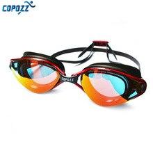 Copozz profesyonel gözlük anti sis UV koruma ayarlanabilir yüzme gözlükleri erkekler kadınlar için su geçirmez silikon gözlük gözlük