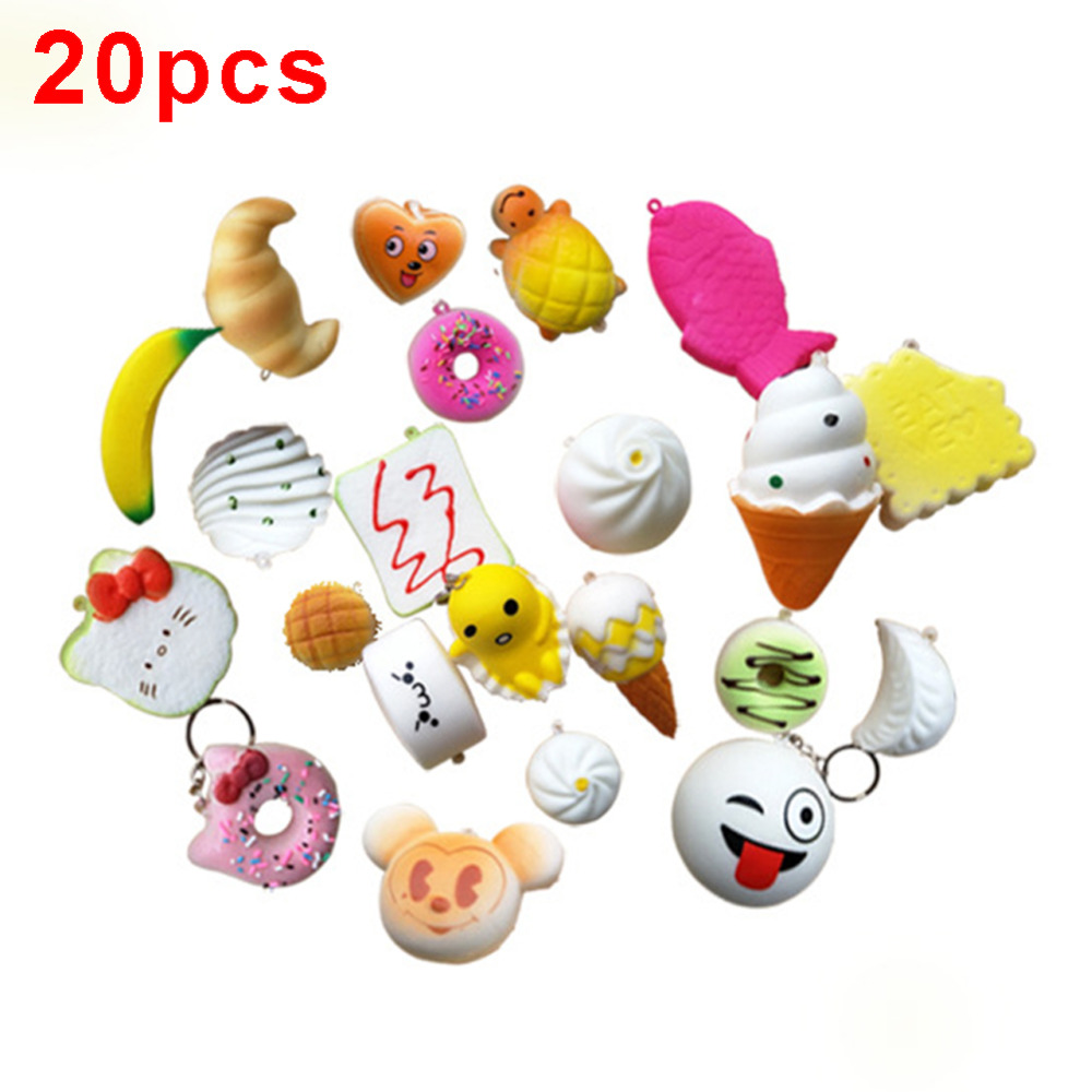 Novelty & Gag Toys Dropshipping 20pcs/pack Squeeze Toy Slow Rising Squeeze Lovely Cute Soft Mini Bread Cake Ice Cream Phone Straps Kid Toys Gifts Gags & Practical Jokes