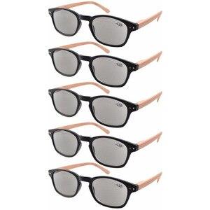 Image 2 - Eyekepper R034 5 pack الربيع المفصلي الأسلحة الخشب الحبوب المطبوعة القراءة نظارات الشمس القراء + 0.50     4.00