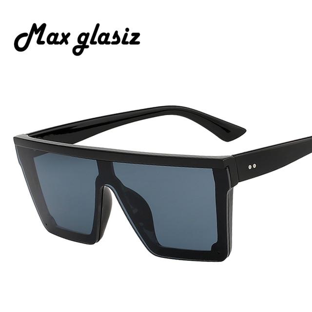 Max glasiz 2018 Carré lunettes de Soleil Femmes Grandes Lunettes De Soleil  Carrées Hommes Noir Cadre 29fdc616e2c2