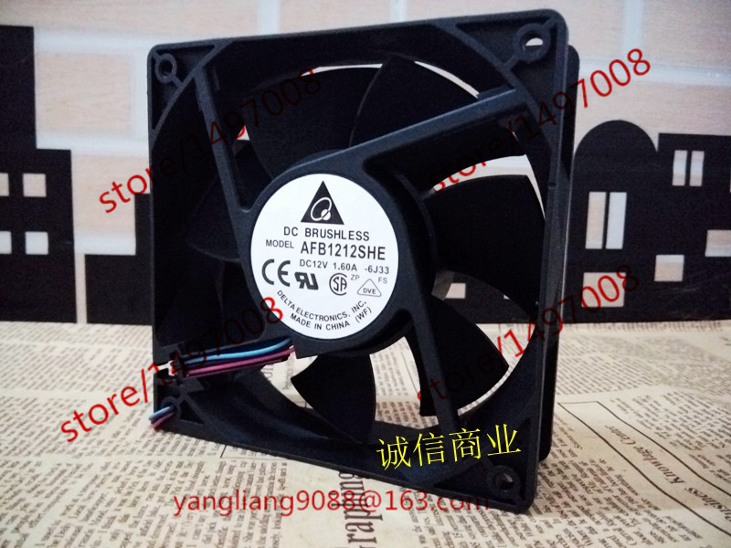 Delta AFC1212DE, -6J33 DC 12V 1.6A 3-wire 120X120X38mm Server Square Cooling Fan delta 12038 12v cooling fan afb1212ehe afb1212he afb1212hhe afb1212le afb1212she afb1212vhe afb1212me
