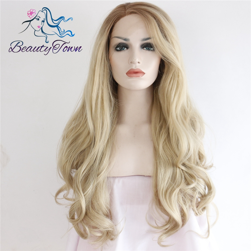 BeautyTown Brown Ombre Blond High Temperature Hair Wavy Style Heat Resistant Glueless Synthetic Lace Front Wedding
