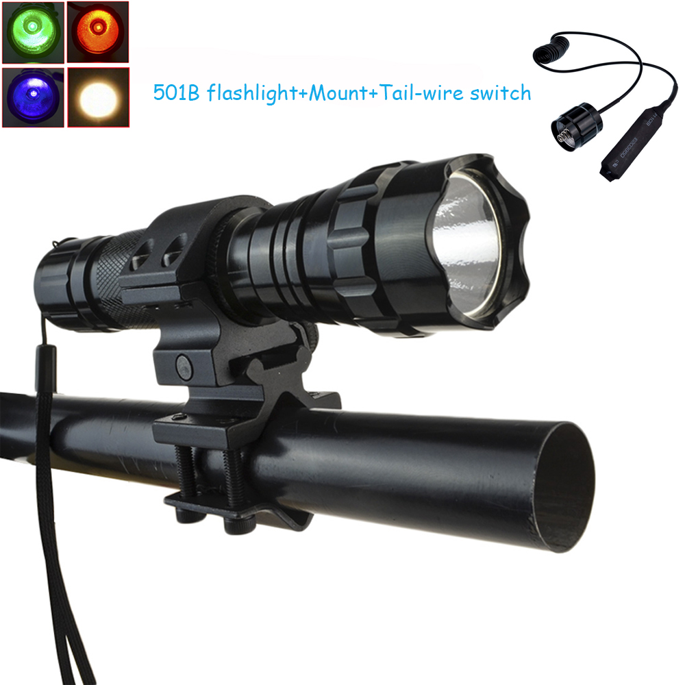White/Green/Blue/Red Cree XML T6 Led Tactical Flashlight 501B 1000 Lumen Torch 5Modes Powered by 18650 Battery+Mount+Tail Switch