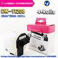 4 рулона совместимый DK-11208 этикетка 38 мм * 90 мм совместимый для принтера Brother этикетки все поставляются с пластиковым держателем 400 шт/рулон