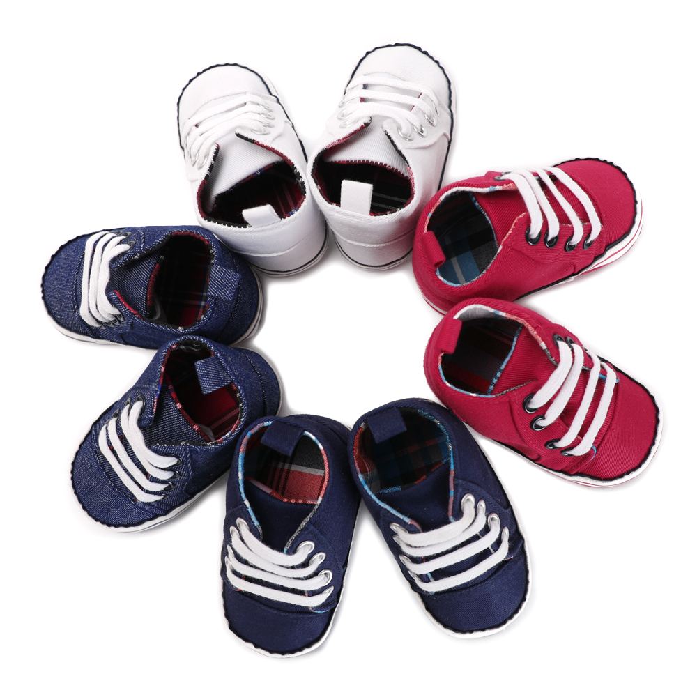 Infant Toddler Newborn Shoes Baby Boys Girls Canvas Shoes Prewalker Anti-Slip Soft Sole Shoes Sneaker First Walkers