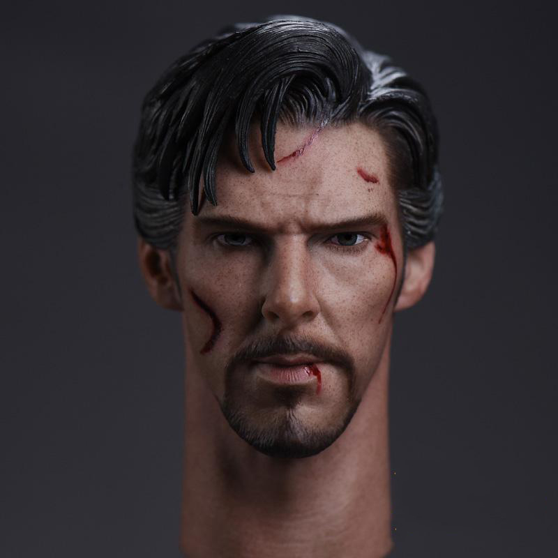 1/6 Doctor Strange Benedict Cumberbatch Head Sculpt Battle Damage Version For 12 Inches Bodies DIY Models