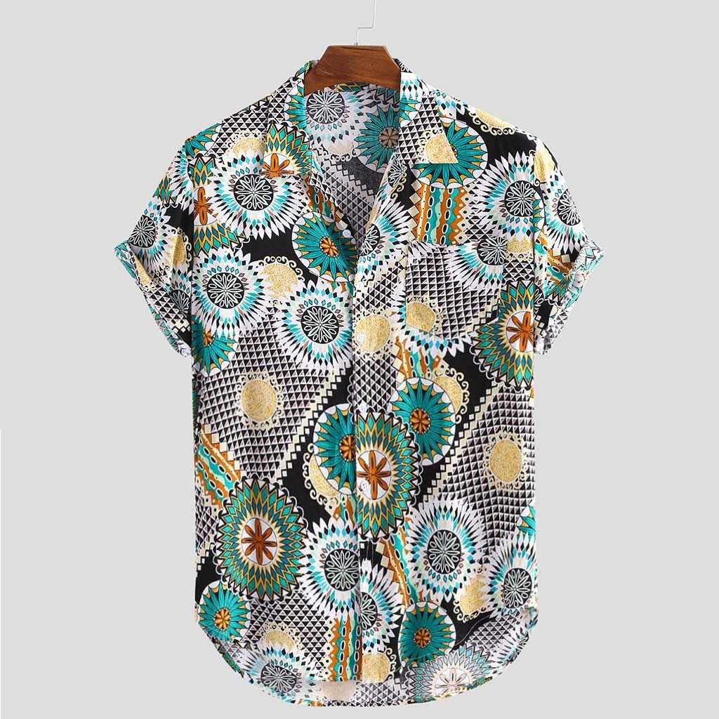 Stylish Hot Sale Mens Vintage Ethnic Printed Turn Down Collar Short Sleeve Loose Casual Shirt Top Camicia da uomo caldo Plus