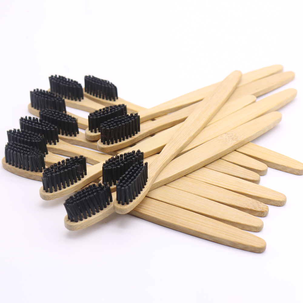 DR.PERFECT 1500 Pieces/lot wooden soft Eco friendly Bamboo Toothbrush tongue scraper cleaning black Oral Care Soft Bristle image