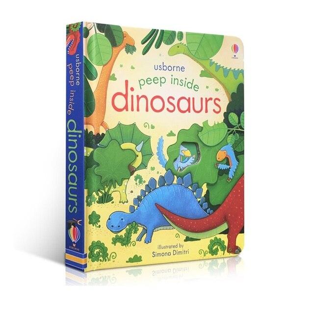 Original inglés Educación libros ilustrados Peep Inside dinosaurios para bebé la primera infancia mejor regalo para los niños