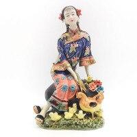 Collectible Ceramic Statue China Porcelain Figurines Antique Imitation Female Sculpture Decoration