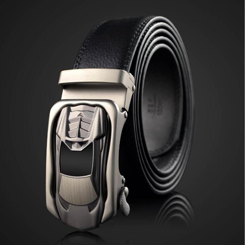 2018 Sports Car Buckle Men Belt Automatic Buckle Leather Belts Jeans Belt 120CM 125CM 130CM Black Quality Assuarance XZ005
