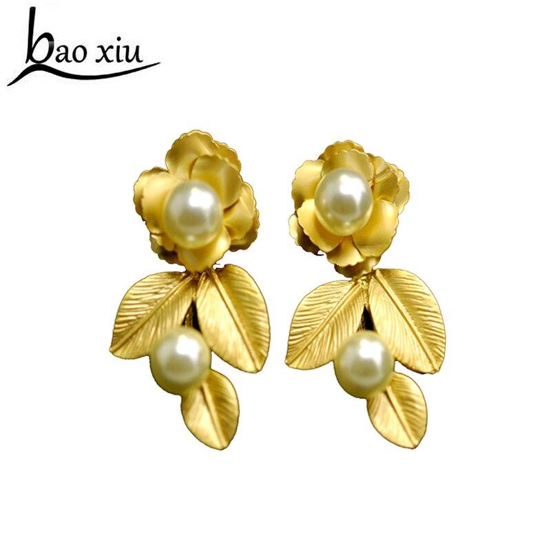 ᗕ2018 moda vintage barroco oro flor hojas perla pendientes para las ...