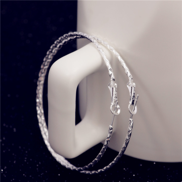 6cm with 925 logo Silver Basketball Wives Hoop Earrings For Women Screw-thread