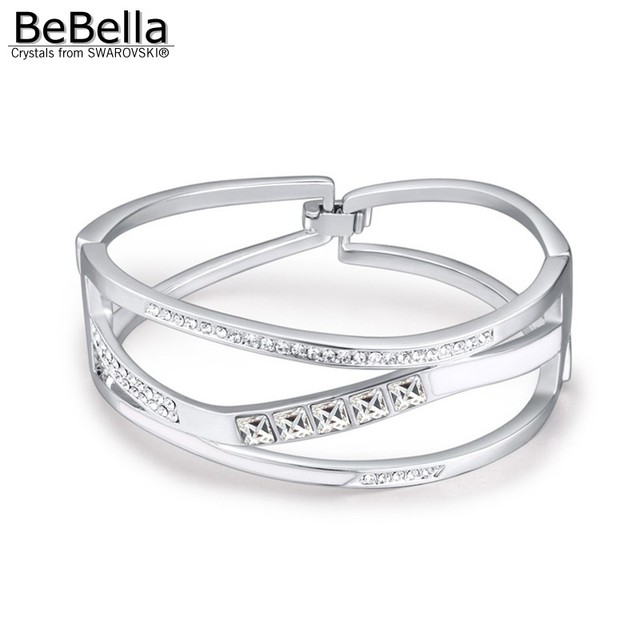 BeBella square crystals setting wide thick open bangle with Crystals from  Swarovski original fashion jewelry for 3093655827