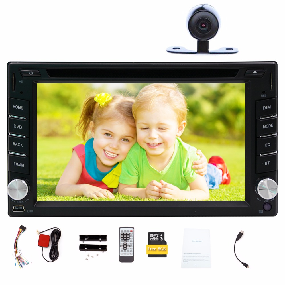 Free camera car dvd player with GPS Navigation Bluetooth car stereo 8GB GPS Map Digital touch radio multimedia AUX SD USB Audio 6 2 wince6 0 free 8gb map camera for 2din universal car dvd player radio stereo gps navigation bluetooth stereo fm am rds aux