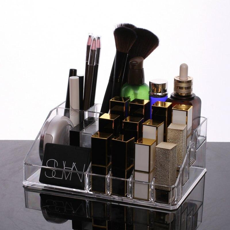Acrylic Makeup Organizer Plexiglass Lipstick Rack for Gils 16 Grid Fashion Cosmetic Box Nail Polish Organizer Women Gift Box in Makeup Organizers from Home Garden
