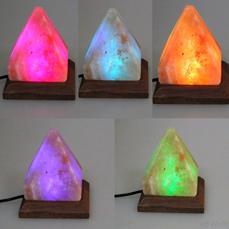 1PC Triangle Hand Carved USB Wooden Base Himalayan Crystal Rock Salt Lamp Air Purifier Night Light G08 Drop ship