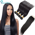 Cheap Beauty Brazilian Straight  Virgin Hair 4pcs With 4*4 Lace Closure Peerless Meches Bresilienne Lots Mink Brazilian Hair