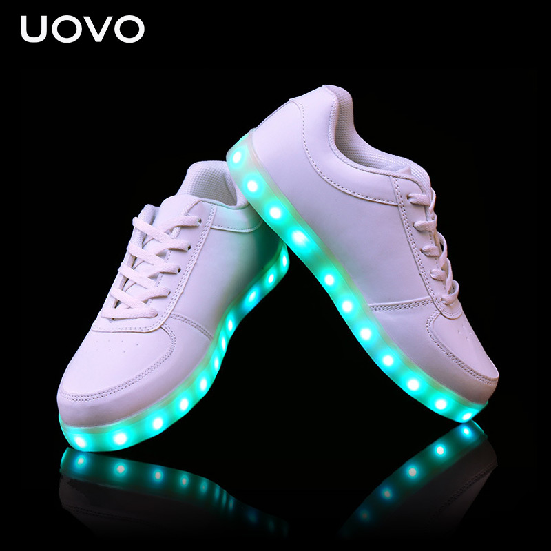 UOVO Kids Luminous shoes USB Charger LED light shoes for boys&girls neon glow shoes casual sneakers Lace Up Shoes Eur 31#-41# children usb charger luminous shoes lace boys girls led light sneakers fashion kids night show casual shoes brand