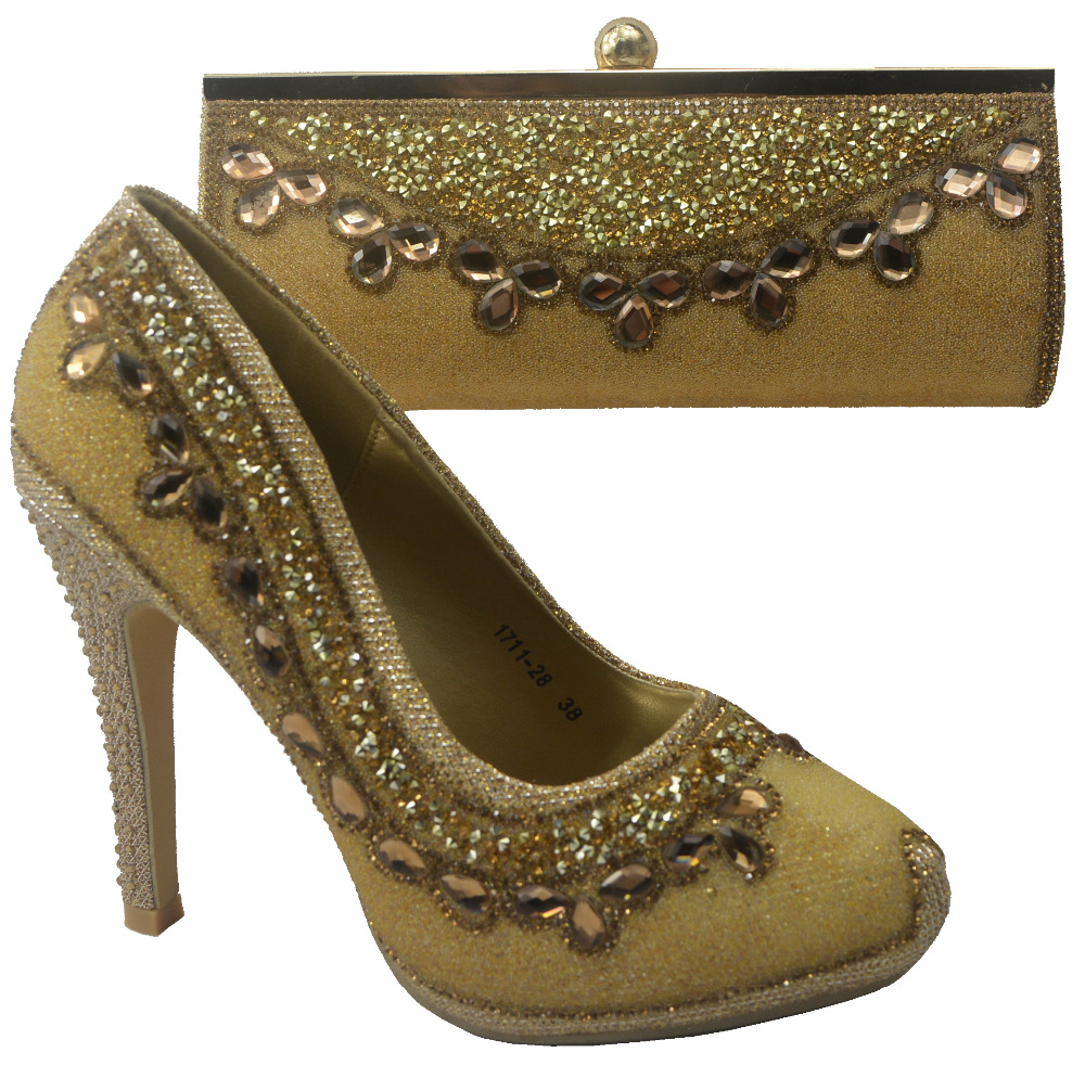 ФОТО Matching Bag High Quality Italy Shoe And Bag set For wedding and party,708-2 gold color size 38-40 Free Shipping
