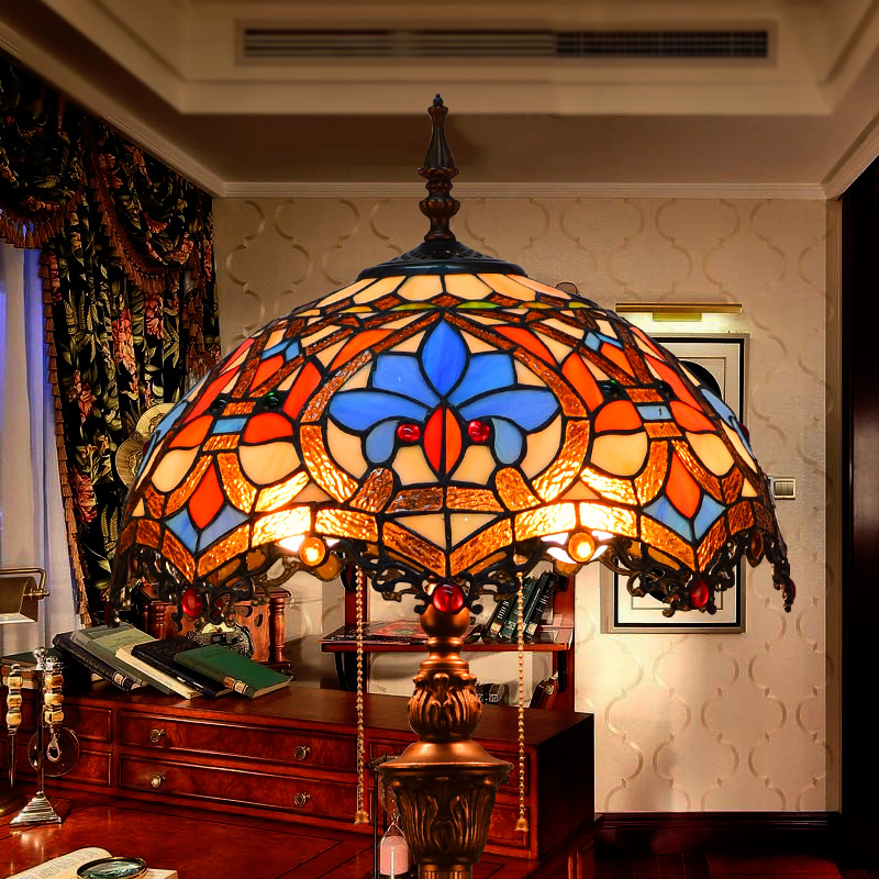 16 Inch Baroque Tiffany Floor Lamp Stained Glass Lamp For