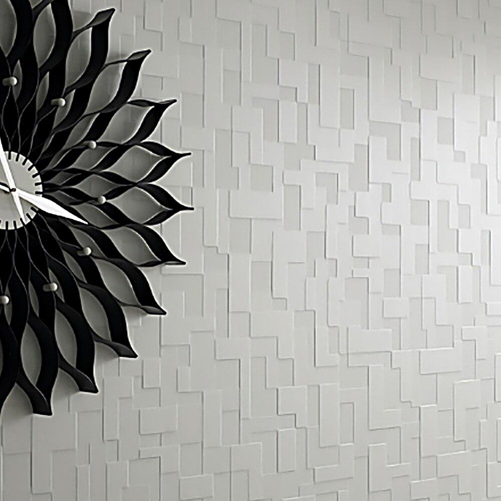 Dicke Samt Nonwoven Geprägte Mosaik Fliesen Weiß Abstrakte Plaid Wand  Papier Schwarz Wandverkleidung Für Schlafzimmer Design Inspirations