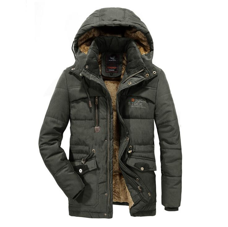 Men Winter Jacket 6XL 7XL 8XL Thick Warm   Parka   Fleece Fur Hooded Military Jacket Coat Pockets Windbreaker Jacket Men