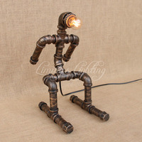 Retro Skiing Robot Coffee Shop Table Lamp Water Pipe Vintage Lamp Dimmable 40W Edison Bulb Bedroom Bar Table Light Desk Light