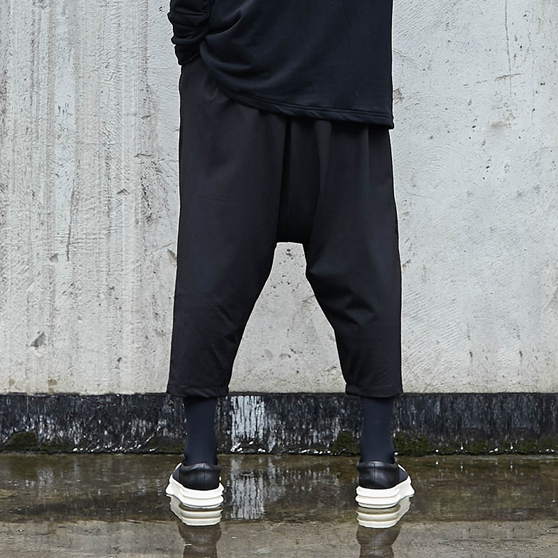 Trousers Male Leg-Pants Harem Hip-Hop Loose Punk Japanese Men Streetwear Dark-Black Casual