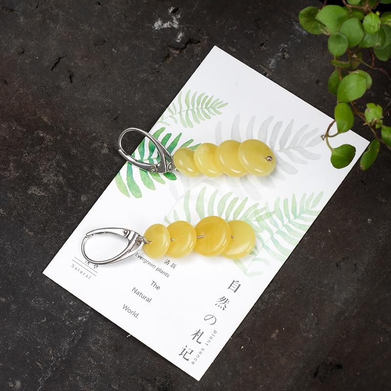 JIUDUO jewelry Genuine luxury New butter yellow honey wax female 925 sterling silver allergy amber earrings fashion wild mail in Earrings from Jewelry Accessories