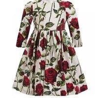 Little Girls Dresses Fashion Rose Flowers Girl Spring Dress Princess Robe Enfant European Stlye Girl Summer