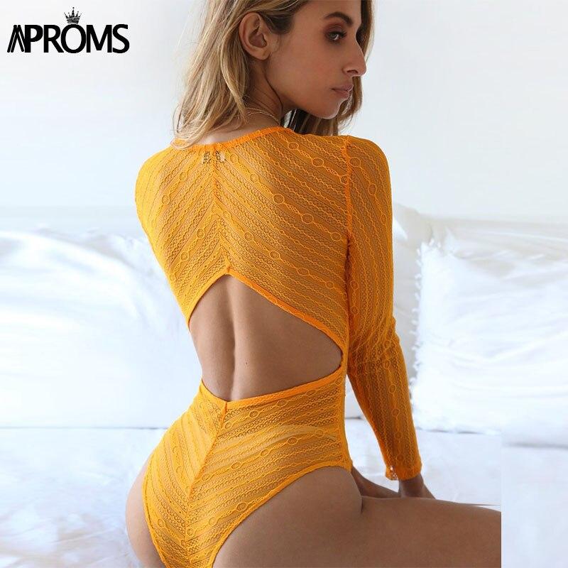 Sexy Deep V neck Lace Mesh Crochet Bodysuit Women Slim Fit Romper   Jumpsuit   Sexy High Street Bodysuits Tops for Women Clothing