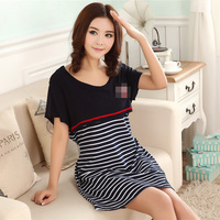 Breastfeeding Women New Maternity Dresses for Pregnant Women Loose Clothing Maternity Stripe Home Cotton Mother Nursing Clothes