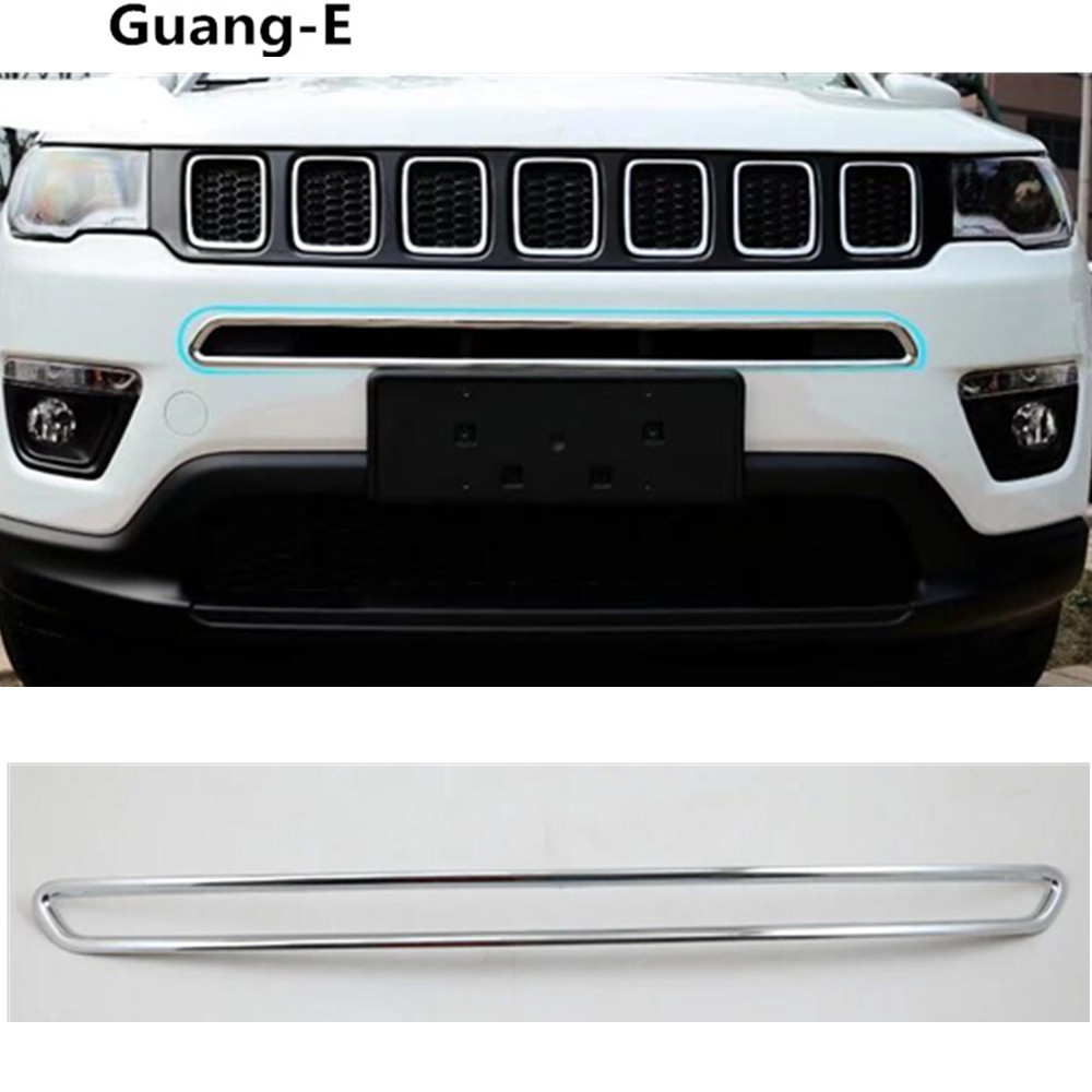 Car ABS Chrome License Plat Racing Grid Grill Grille Hoods Panel Frame Moulding bumper part 1pcs For Jeep compass 2017 2018 2019 auldey 88010 abs racing car kit