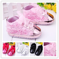 2015 new spring baby girls pink rose flower lace shoes bebe First Walker Soft slip infants walking shoes wholesale and Retail