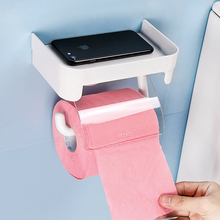 Toilet Paper Roll Holder for Bathroom with Storage Shelf Tissue Box Suction Cups Towels