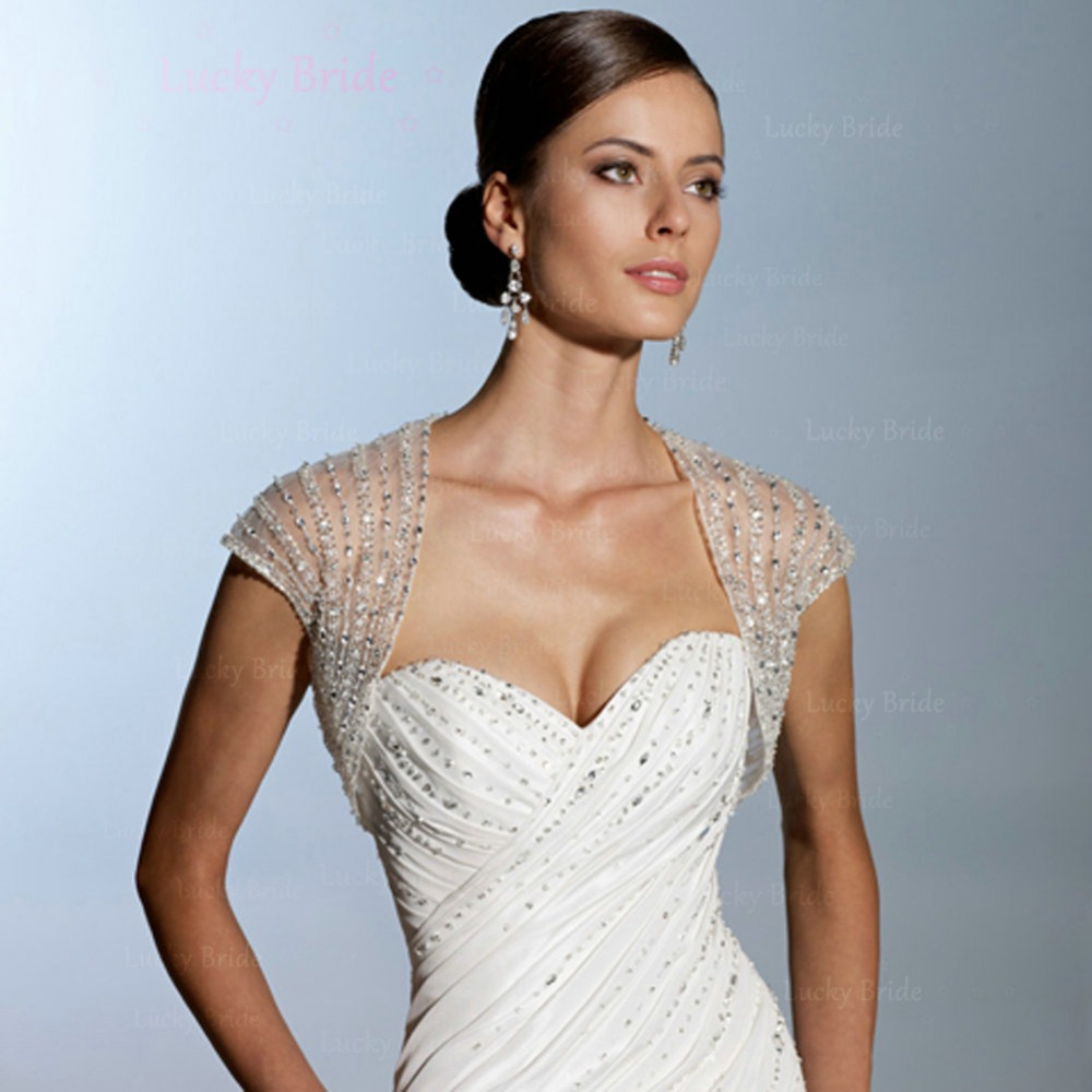 b8 simple pas cher voir travers perles paillettes tulle manches courtes blanc de marie - Bolero Mariage Blanc