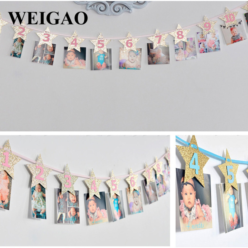 Image 3 - WEIGAO Baby 1st Birthday Photo Banner Star Heart Photo Garland with Clips Girl First Birthday 1 One Year Monthly Photo Props-in Party DIY Decorations from Home & Garden
