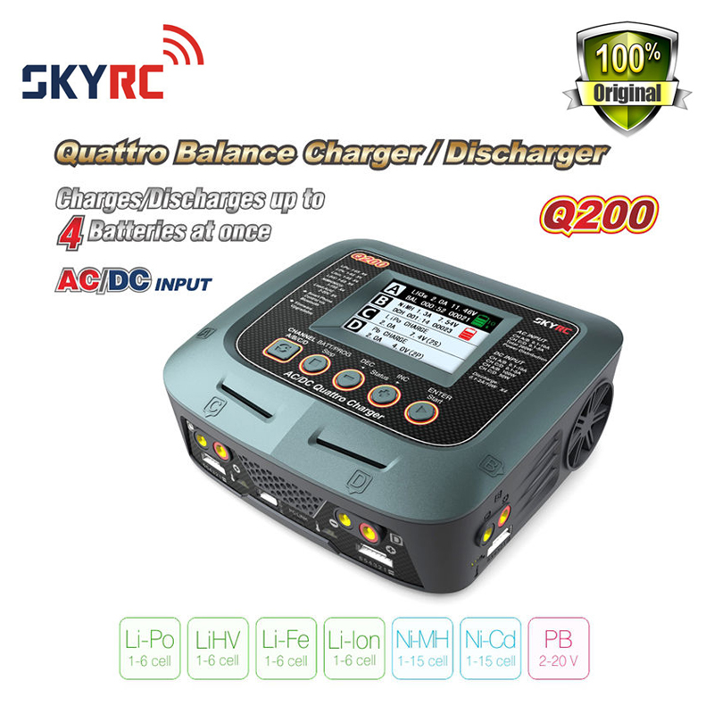 Original Skyrc Q200 Battery Balance Charger 4 Batteries AC/DC Input for Lipo/LiHV/Lithium-iron/Lithium Ion/NiMH/NiCD/Lead-acid skyrc d100 2 100w ac dc dual balance charger 10a charge 5a discharge nimh lipo battery charger twin channel charge