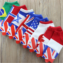 1 Pair Hot Sale Men Fashion Casual Autumn Spring Free Size Leisure Low Cut Crew Flag