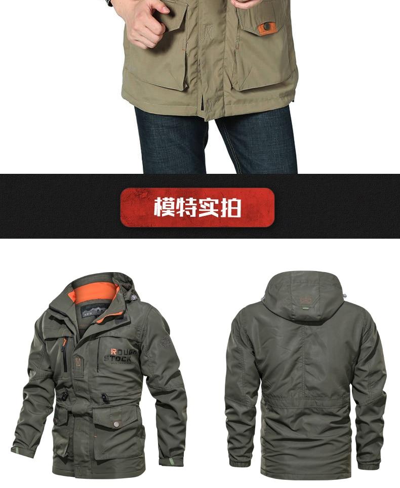 2019 Bomber Jacket Men Autumn Winter Multi-pocket Waterproof Military tactical Jacket Cap Windbreaker Men Coat Outdoor stormwear
