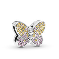 2019 Spring Fit Pandora charms Bracelet Reflexions Bedazzling Butterfly Clip 100% 925 Silver for Charms diy Jewelry making