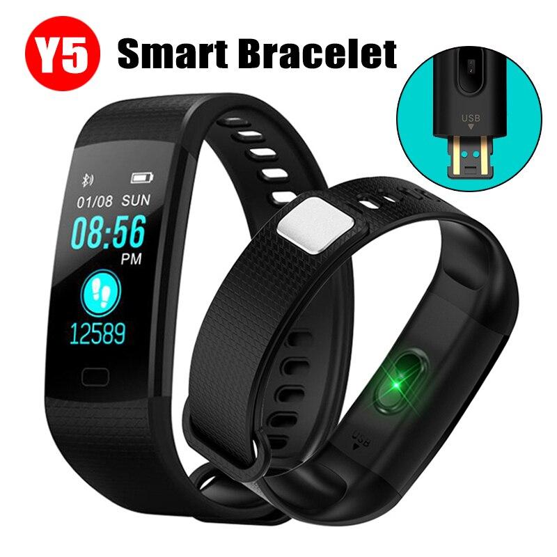 Y5 Smartband Smart Bracelet Band Heart Rate Tracker Waterproof Wristband Watch Men  Fitness